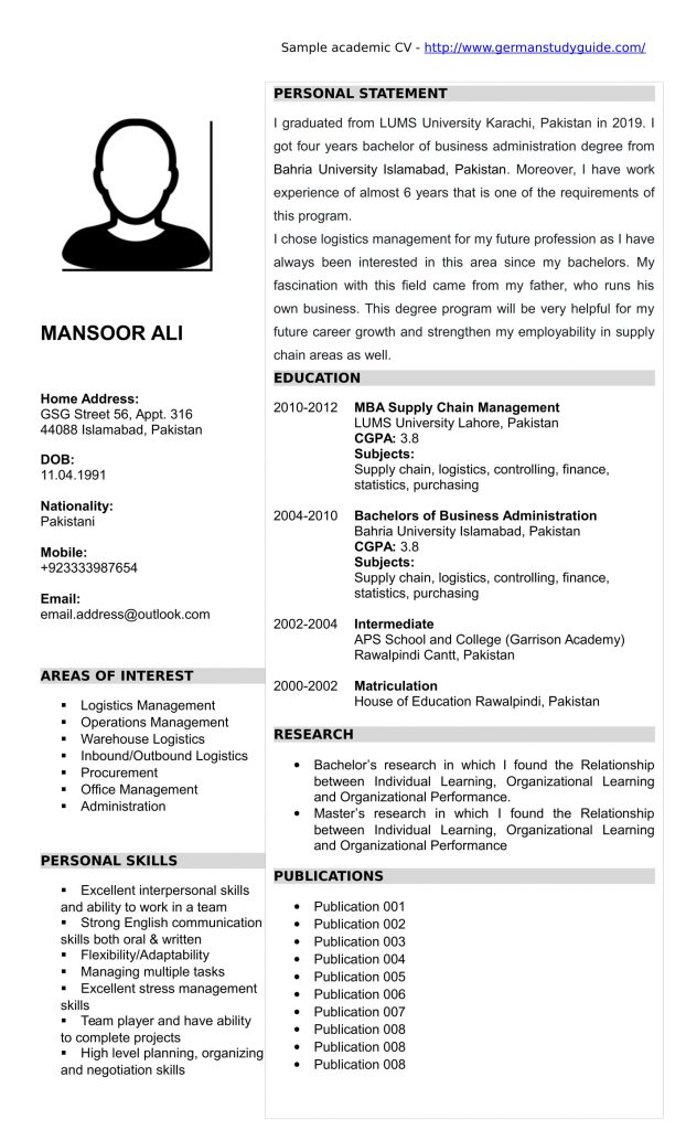 academic cv for admission in german universities study guide resume college sample Resume Academic Resume For College Admission
