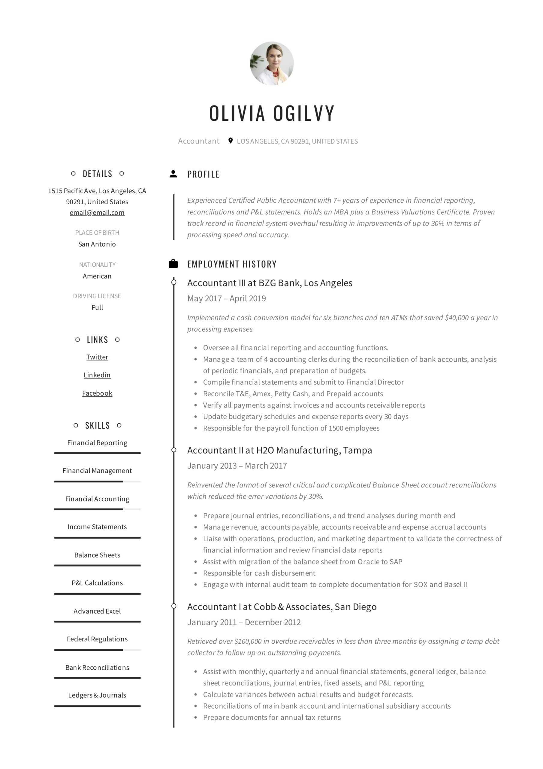 accountant resume writing guide templates pdf outsource experience olivia ogilvy examples Resume Resume Outsource Experience