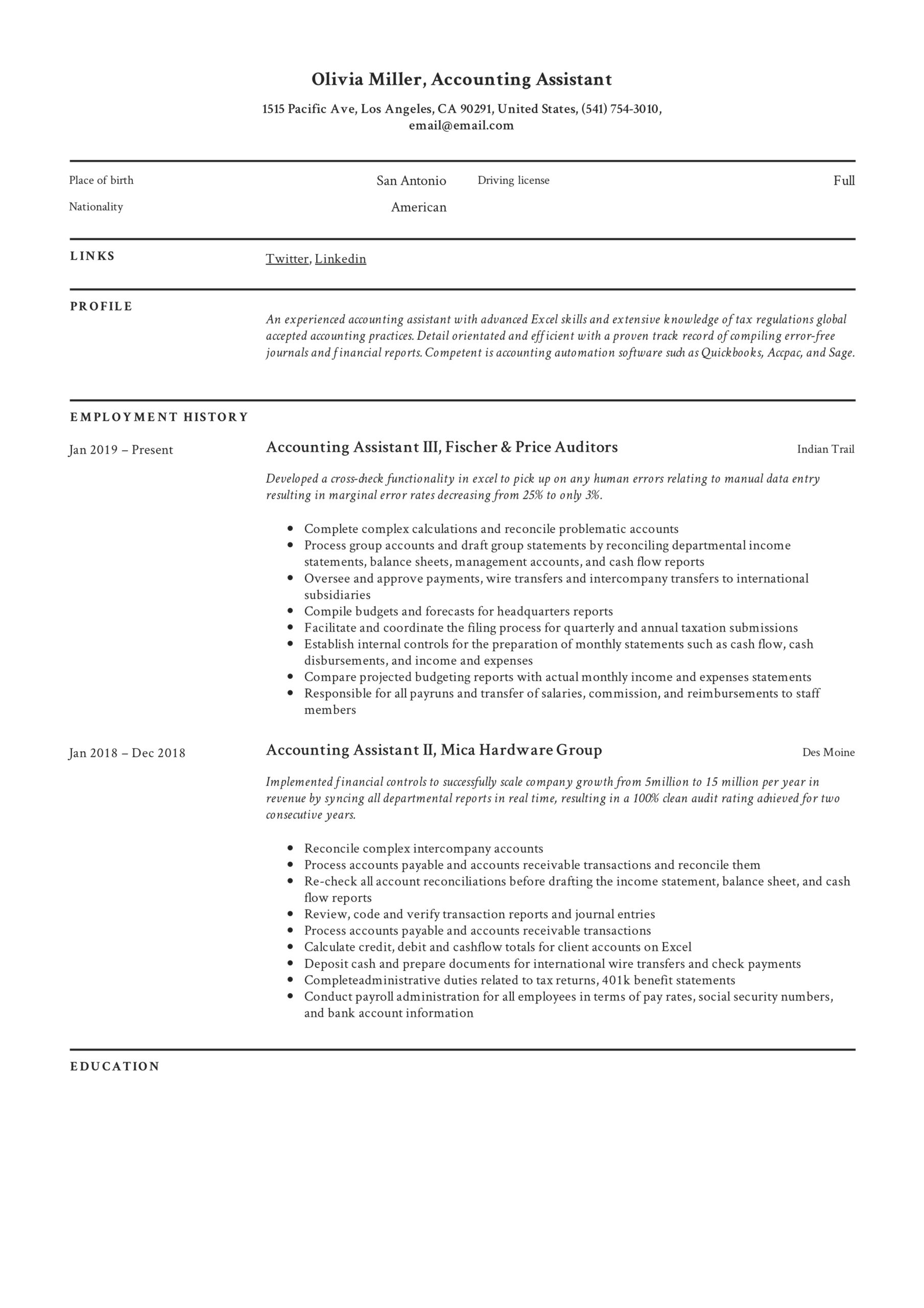 accounting assistant resume writing guide examples pdf college help basic computer Resume Harper College Resume Help