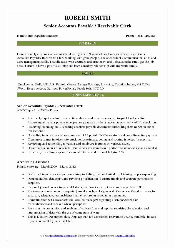 accounts receivable job description resume awesome payable clerk samples in marketing Resume Sap Accounts Receivable Resume