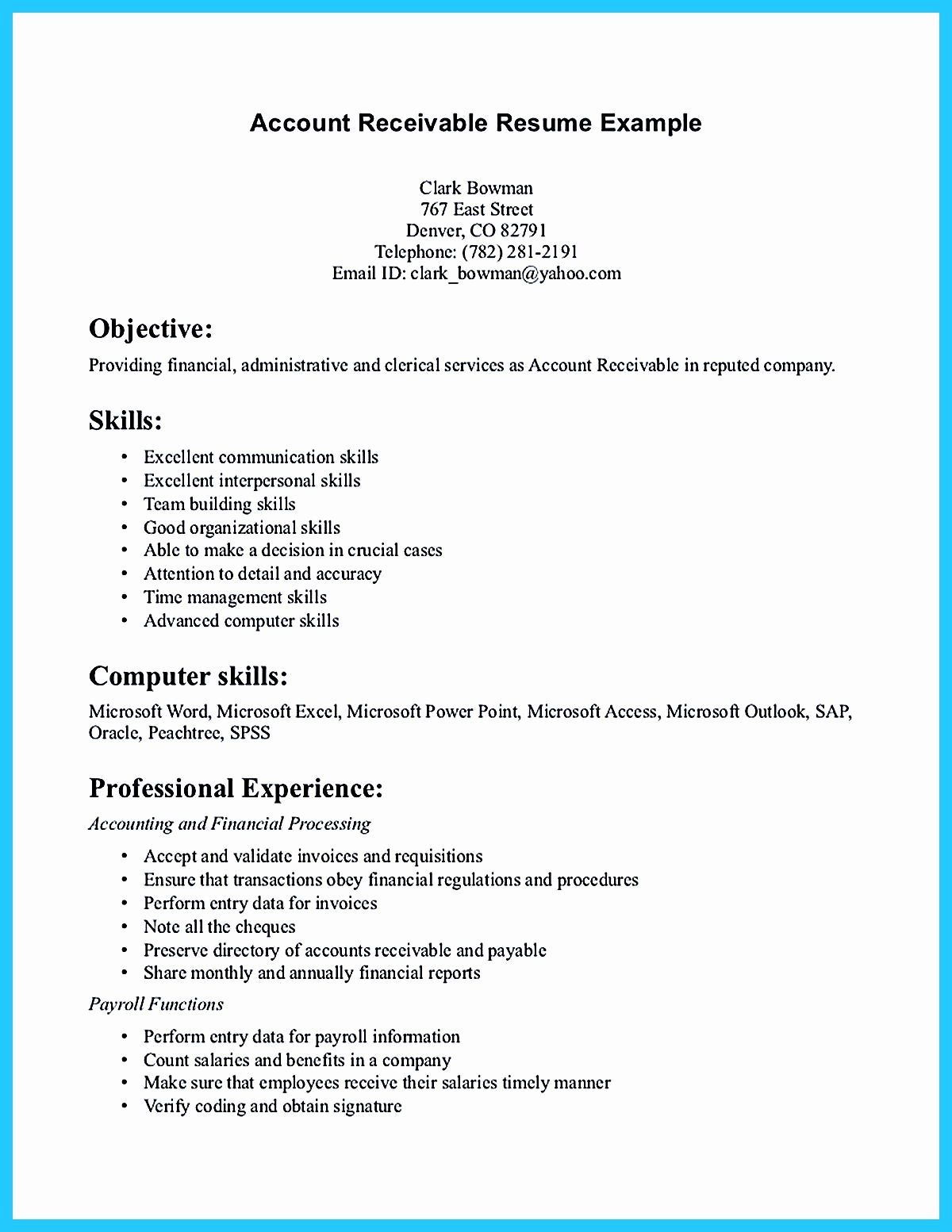 accounts receivable manager resume new presents both skills and also the strengt in Resume Sap Accounts Receivable Resume