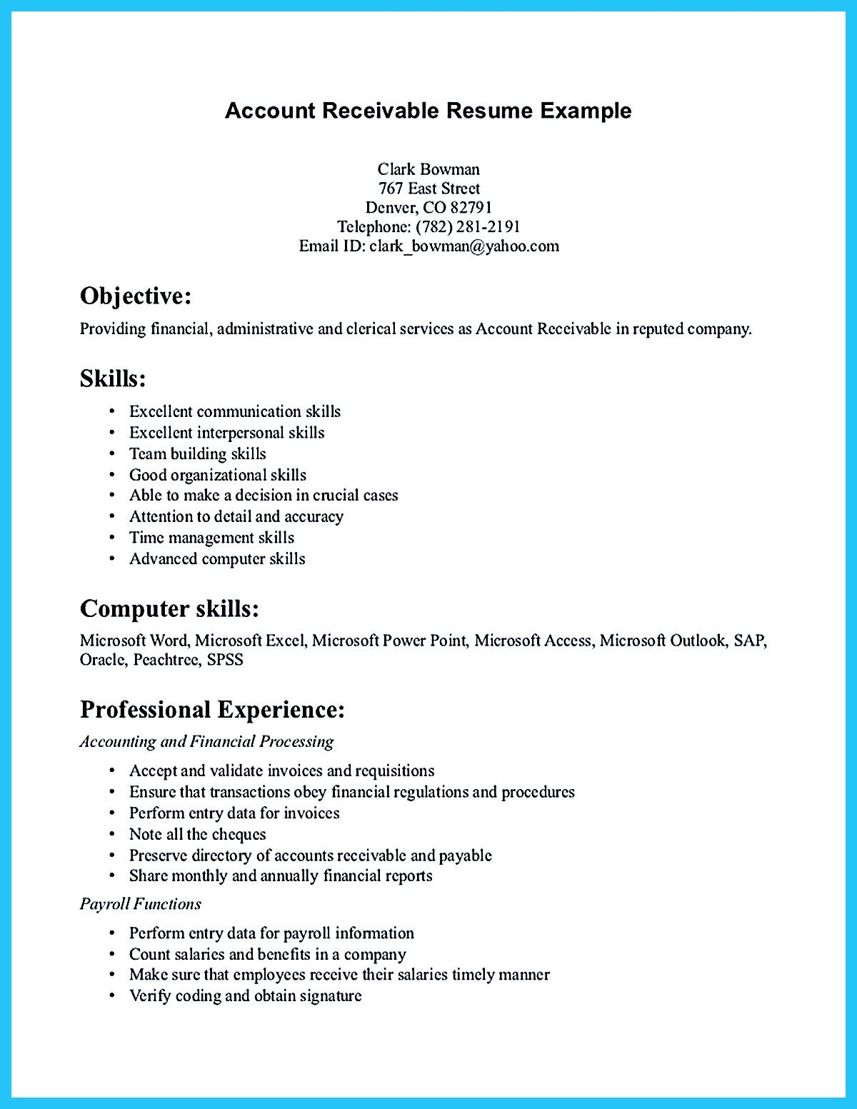 accounts receivable resume presents both skills and also the strengths of candidate in Resume Resume Skills And Strengths Examples
