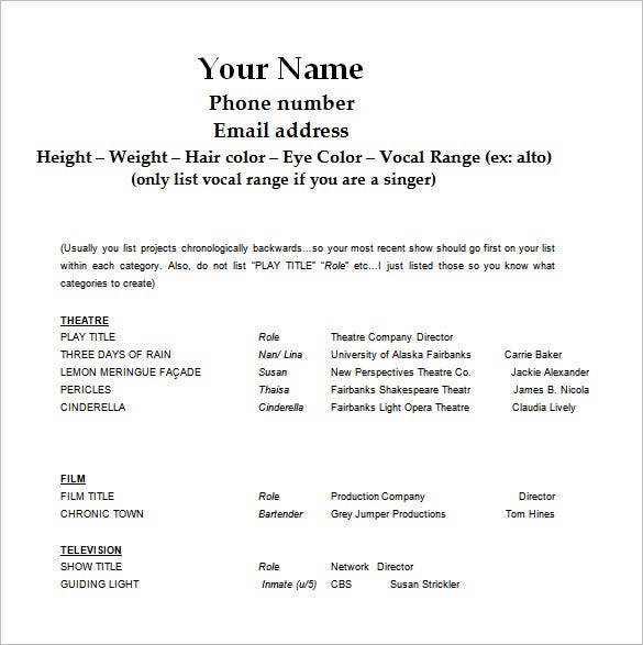 acting resume template free word excel pdf format premium templates casting call sample Resume Casting Call Resume Sample