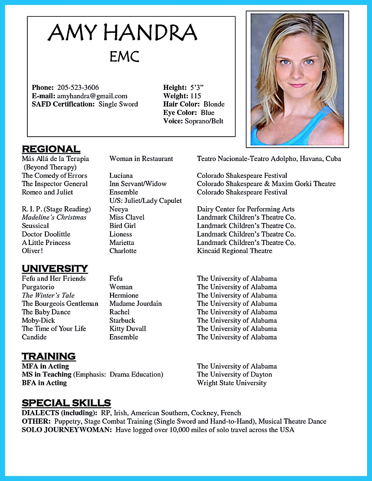 acting resume template is very useful for you are now seeking job in the dance examples Resume Examples Of Special Skills For Acting Resume