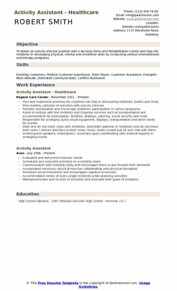 activity assistant resume samples qwikresume activities pdf work from home objective Resume Activities Resume Samples