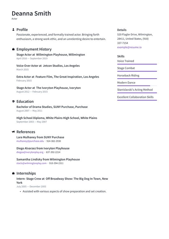 actor resume examples writing tips free guide io acting template combination format Resume Acting Resume Template 2020