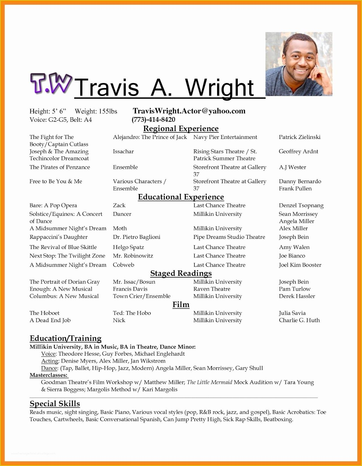 actors resume sample theater template professional acting word printer technician Resume Acting Resume Template 2020