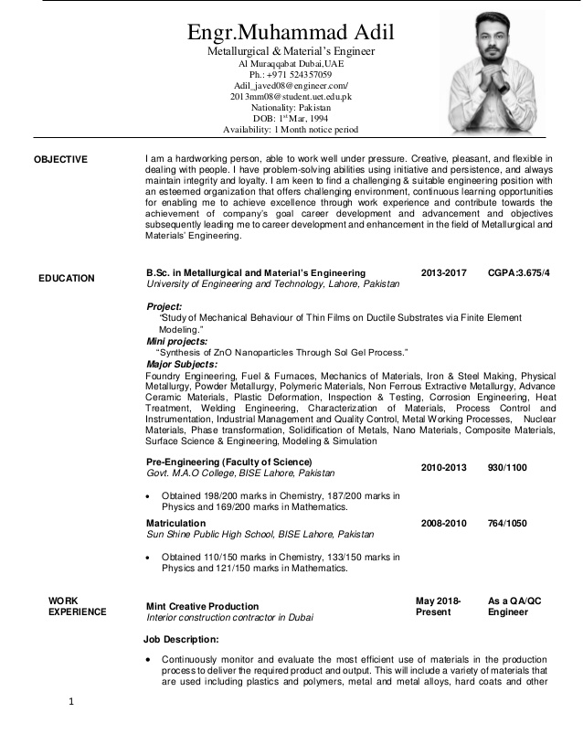 adil javed metallurgical and materials engineering resume engineer format for commerce Resume Materials Engineer Resume