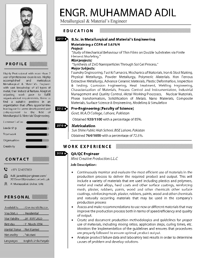 adil metallurgical materials engineer resume amp expected graduation strong summary for Resume Materials Engineer Resume