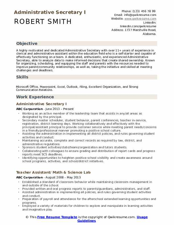 administrative secretary resume samples qwikresume format pdf patient care technician Resume Secretary Resume Format