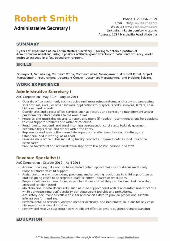 administrative secretary resume samples qwikresume summary example for an assistant pdf Resume Resume Summary Example For An Administrative Assistant