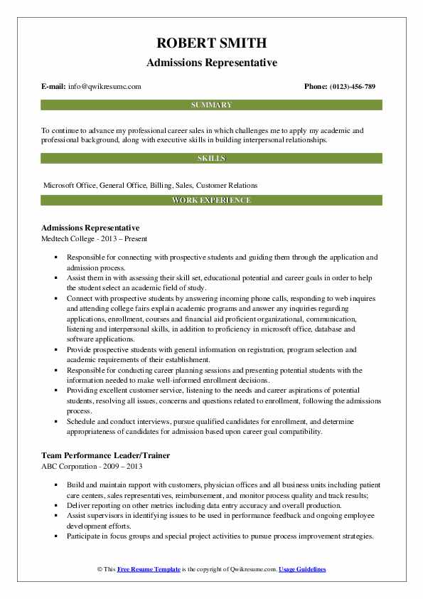 admissions representative resume samples qwikresume for college admission pdf optimal Resume Resume For College Admission