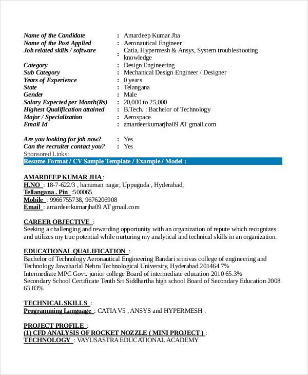 aeronautical fresher resume format in engineering templates job template samples for Resume Resume Samples For Fresher Aeronautical Engineers