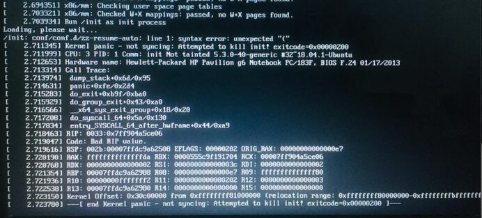 am facing issues with kernel panic not syncing attempted to init ask ubuntu update Resume Update Initramfs Resume