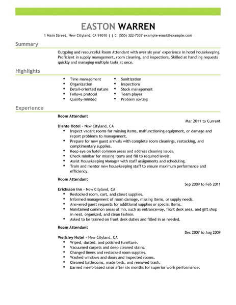 amazing hotel hospitality resume examples livecareer samples room attendant example Resume Hospitality Resume Samples