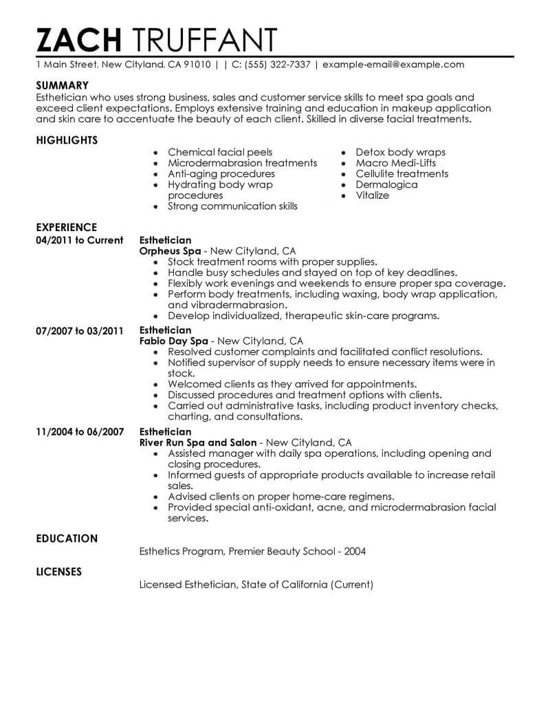 amazing salon spa fitness resume examples livecareer manager job description esthetician Resume Spa Manager Job Description Resume