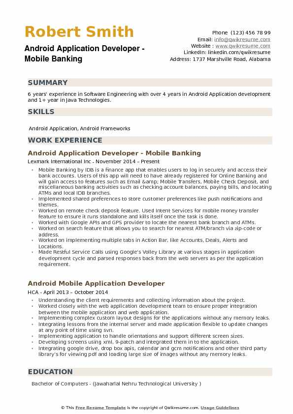 android application developer resume samples qwikresume years experience pdf template Resume Android Developer Resume 1 Years Experience