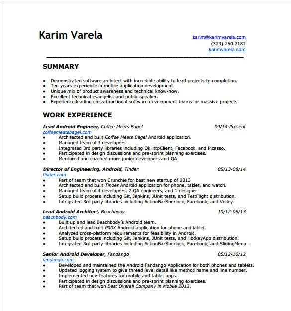 android developer resume templates free word excel pdf format premium years experience Resume Android Developer Resume 1 Years Experience