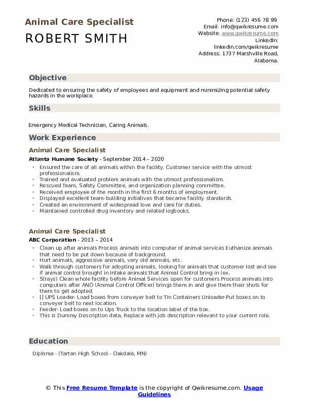 animal care specialist resume samples qwikresume sample husbandry pdf for first time job Resume Sample Resume Animal Husbandry