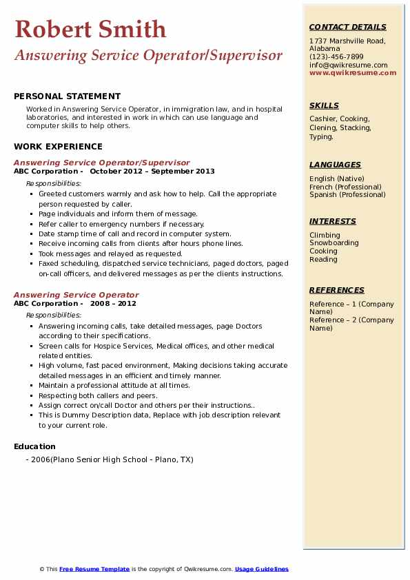 answering service operator resume samples qwikresume phones on pdf poultry skills and Resume Answering Phones On Resume