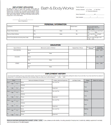 application letter for vacation leave on and body works job description resume pic2 Resume Bath And Body Works Job Description For Resume