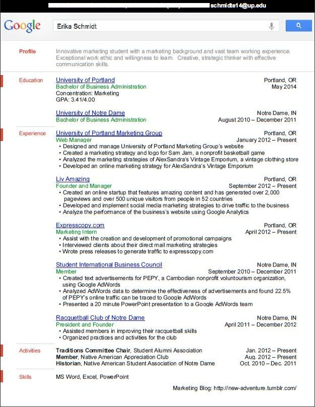 applied for the google bold internship three months ago and this is resume used thought Resume Resume For Google Internship