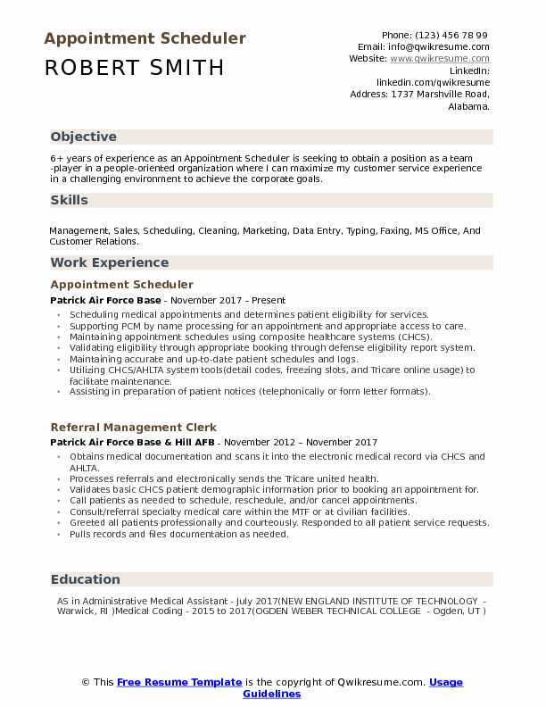 appointment scheduler resume samples qwikresume best objectives for pdf references on Resume Best Objectives For Resume 2017