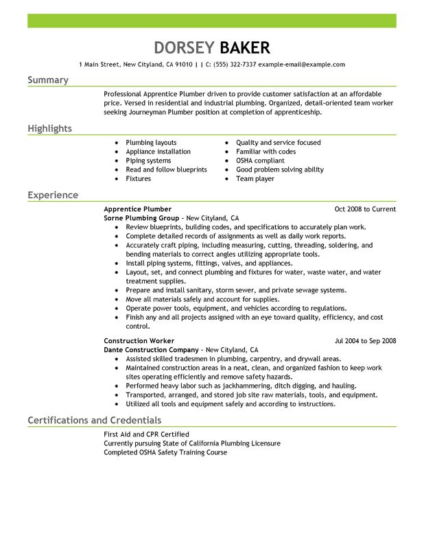 apprentice plumber resume examples free to try today myperfectresume apprenticeship Resume Apprenticeship Resume Format