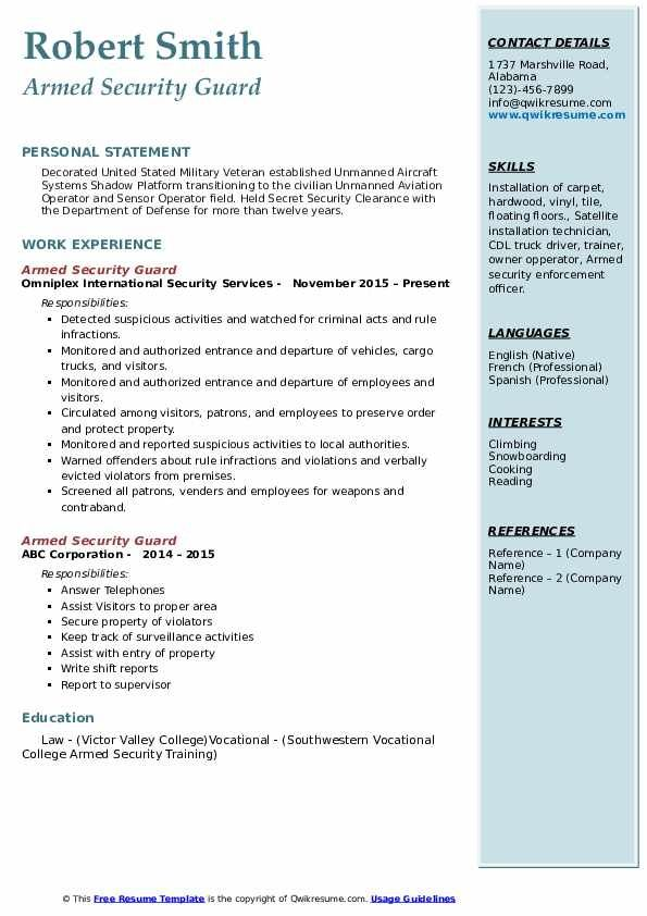 armed security guard resume samples qwikresume in jobs field officer game design intern Resume Security Field Officer Resume