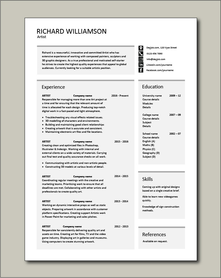 artist resume artistic drawing example templates job description fashion commercial free Resume Commercial Artist Resume