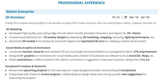 artist resume complete guide with examples junior professional experience law enforcement Resume Junior 3d Artist Resume
