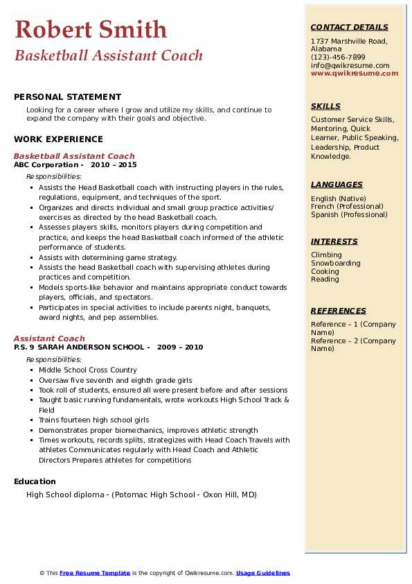 assistant coach resume samples qwikresume sample pdf different types of templates Resume Assistant Coach Resume Sample