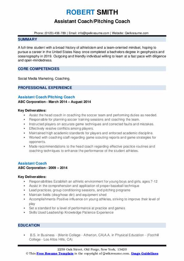 assistant coach resume samples qwikresume sample pdf istqb tip sheet perfect format for Resume Assistant Coach Resume Sample