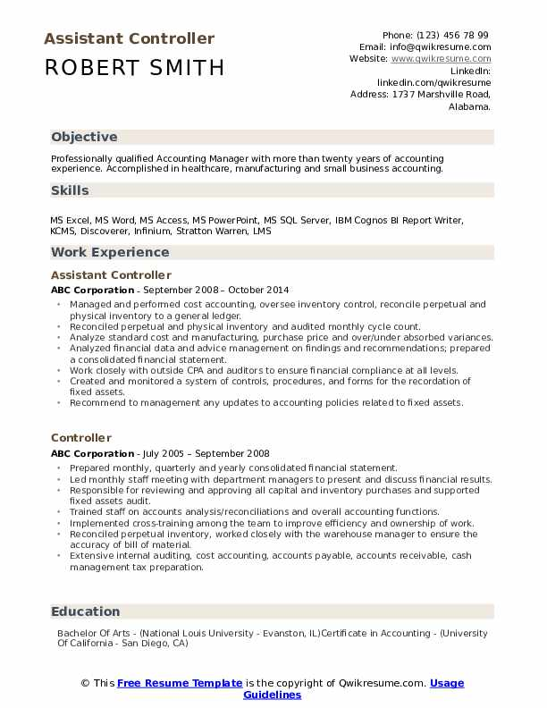 assistant controller resume samples qwikresume examples pdf parsing software career Resume Controller Resume Examples