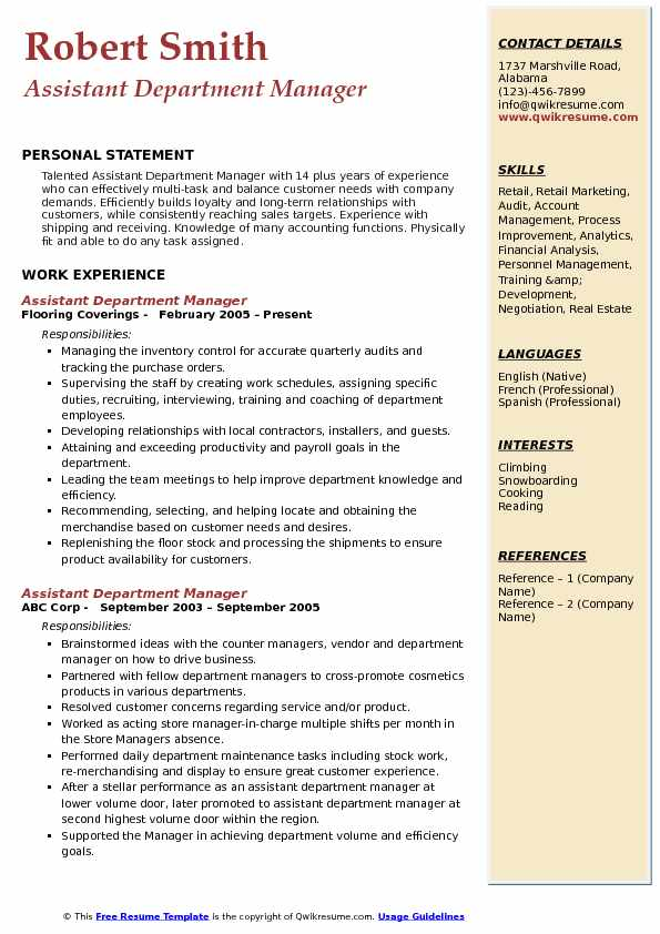 assistant department manager resume samples qwikresume pdf biotechnology lab skills word Resume Department Manager Resume