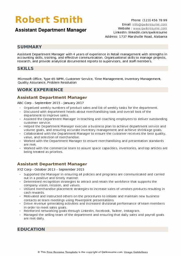 assistant department manager resume samples qwikresume pdf for overseas employment Resume Department Manager Resume