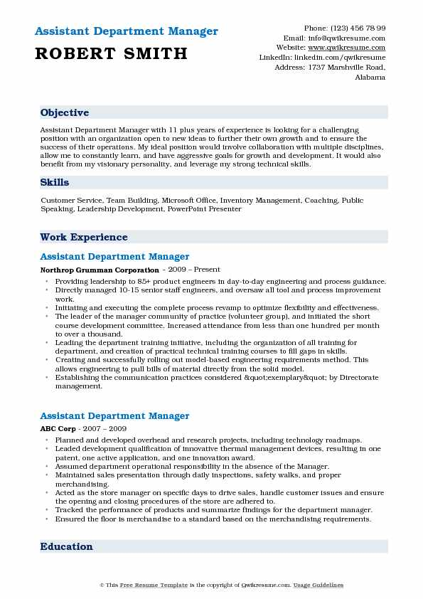 assistant department manager resume samples qwikresume pdf retail customer service Resume Department Manager Resume