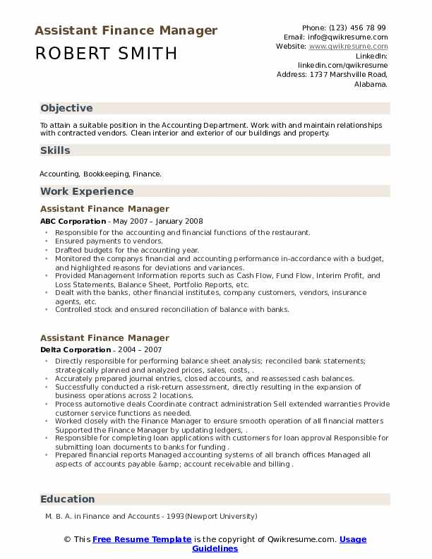 assistant finance manager resume samples qwikresume sample accounts pdf cable technician Resume Sample Resume Assistant Manager Finance & Accounts