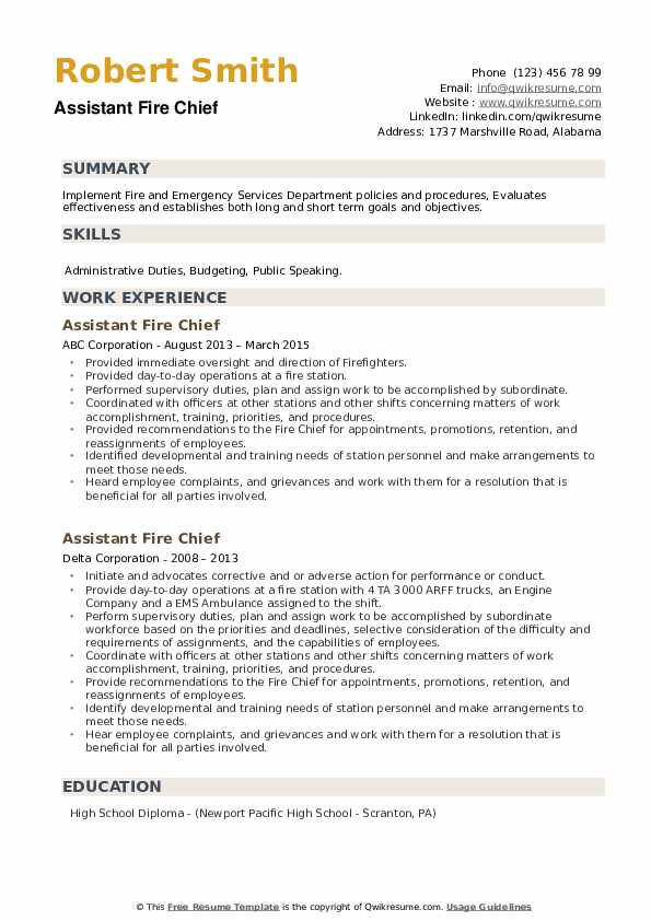 assistant fire chief resume samples qwikresume objective pdf types of experience for rn Resume Fire Chief Resume Objective