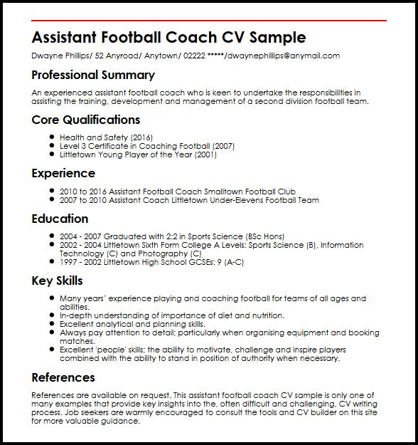 assistant football coach cv example myperfectcv resume description sample honors and Resume Coach Resume Description
