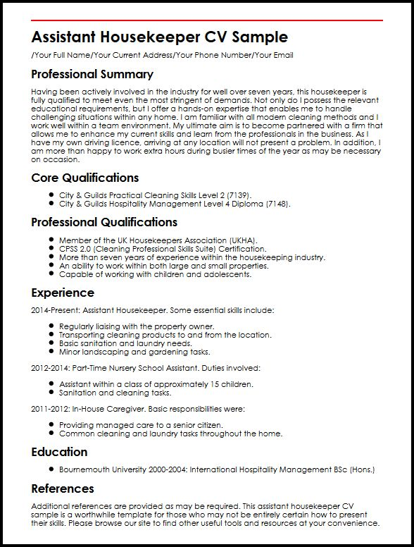 assistant housekeeper cv example myperfectcv house cleaning experience resume sample Resume House Cleaning Experience Resume