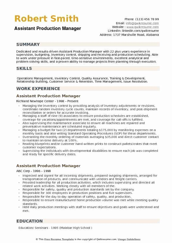 assistant manager job description resume unique production samples in good examples Resume Production Control Manager Resume