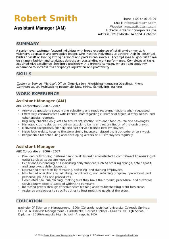 assistant manager resume samples qwikresume sample pdf play free templates for freshers Resume Assistant Manager Resume Sample