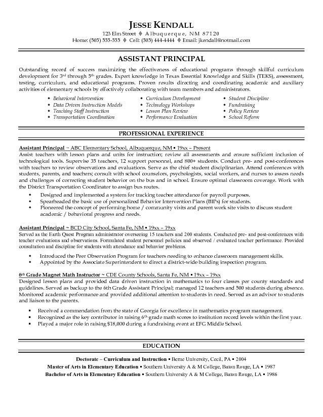 assistant principal resume sample free example education teacher examples professional Resume High School Principal Resume Examples