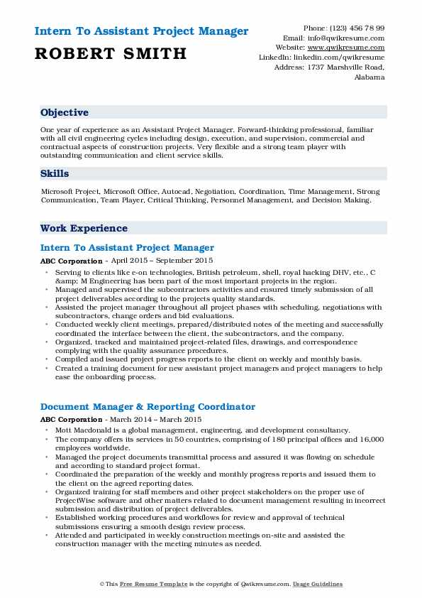 assistant project manager resume samples qwikresume construction pdf canva templates non Resume Assistant Project Manager Construction Resume