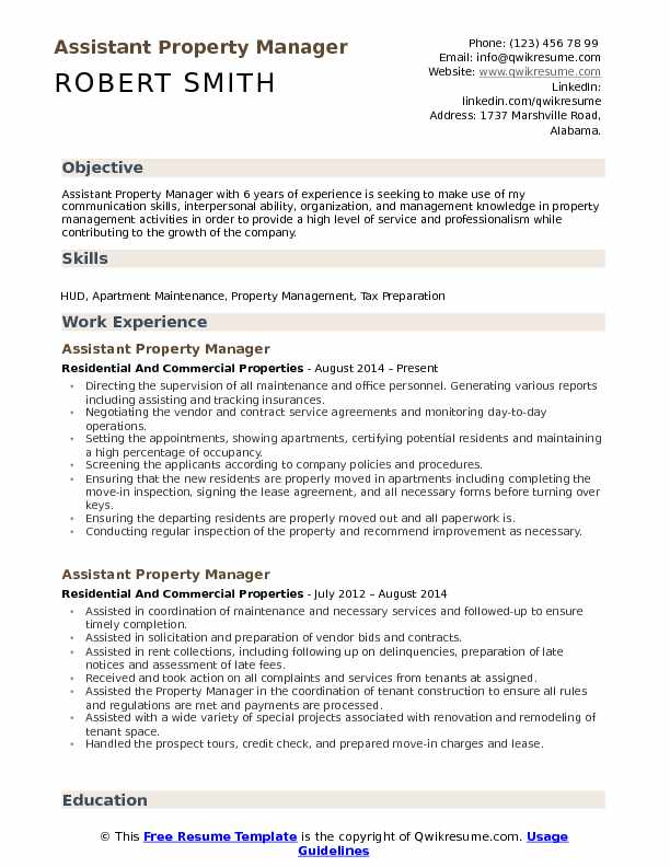 assistant property manager resume samples qwikresume pdf project management free Resume Assistant Property Manager Resume