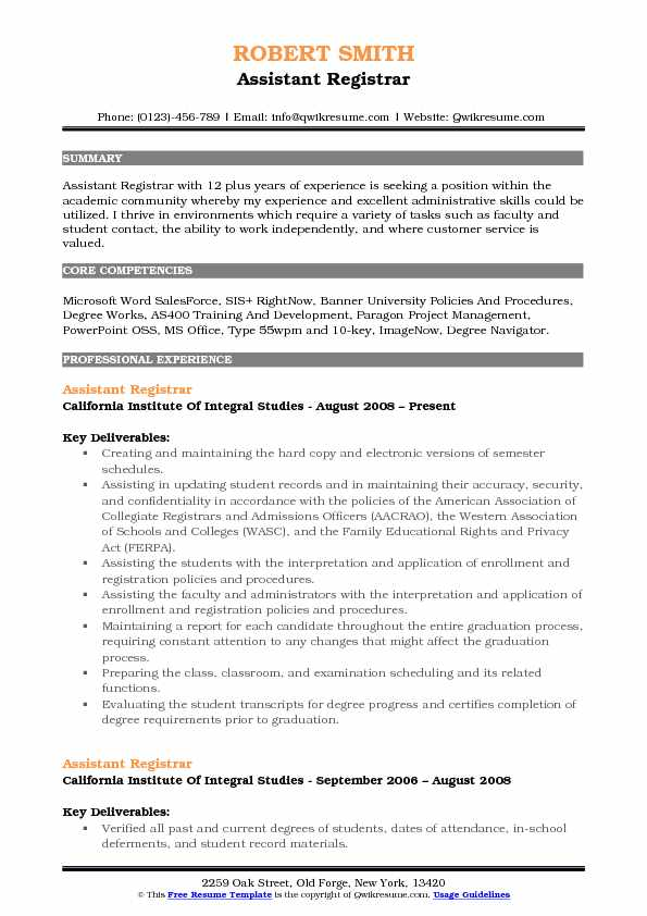 assistant registrar resume samples qwikresume university example pdf office dos and don Resume University Registrar Resume Example