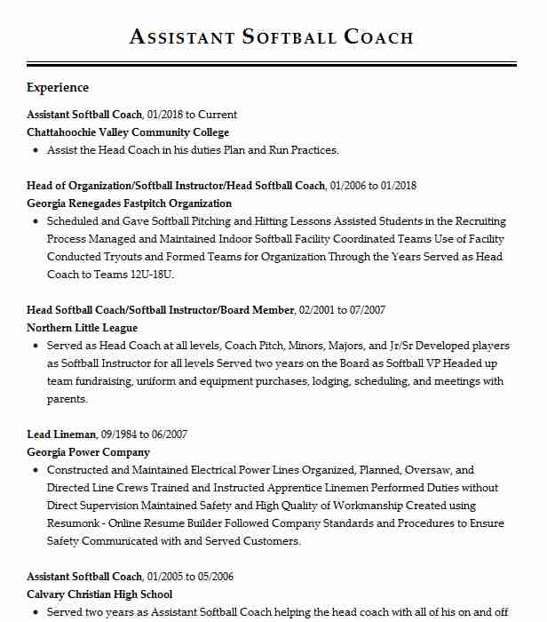 assistant softball coach pitching resume example university of west sample management Resume Softball Coach Resume Sample