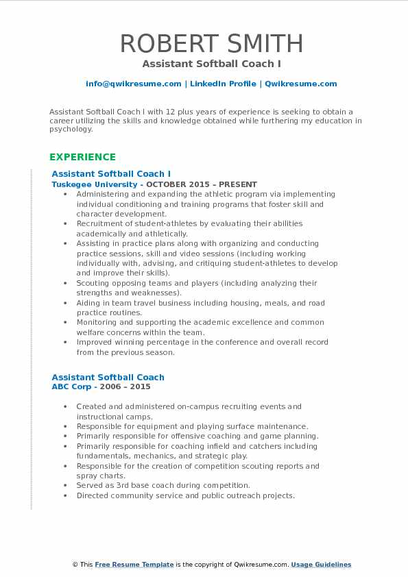 assistant softball coach resume samples qwikresume sample pdf attractive skills for Resume Softball Coach Resume Sample