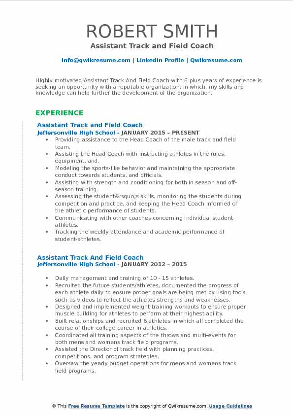 assistant track and field coach resume samples qwikresume example pdf animal science Resume Track And Field Resume Example